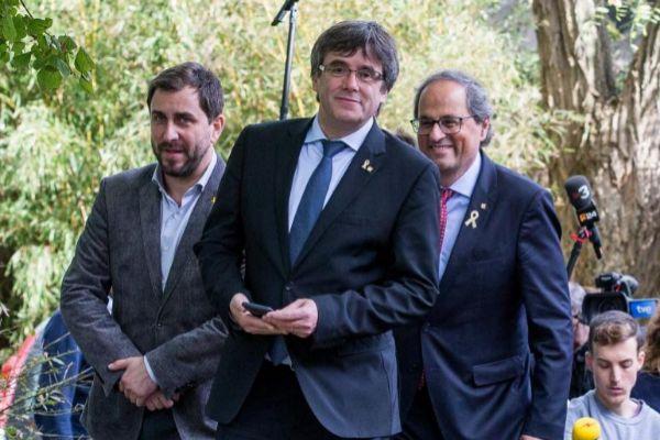 Toni Comín junto a Carles Puigdemont y Quim Torra, en una foto de archivo
