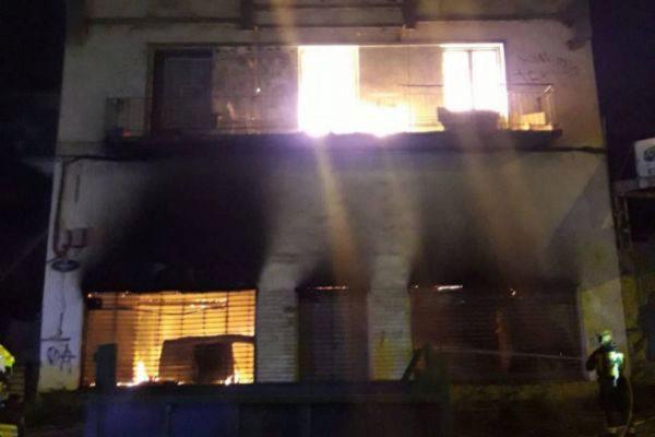 Incendio del edificio en el Infierno.
