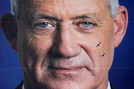 Fotografía del cartel electoral de Benny Gantz.