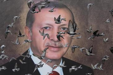 Pigeons fly in front of a large poster of Turkish President Tayyip <HIT>Erdogan</HIT> in Bursa