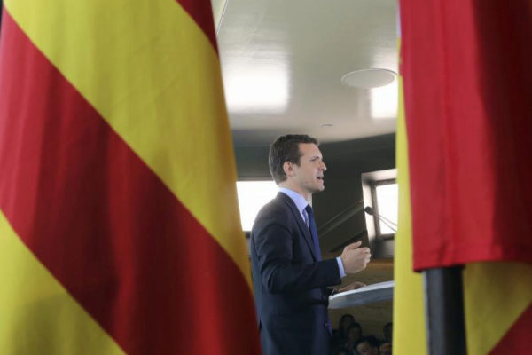 Pablo Casado, en la presentación del programa del PP en Barcelona.
