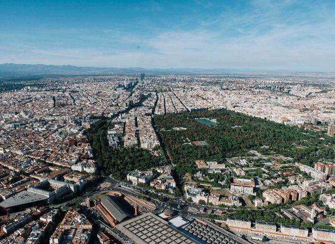 Vista área del centro de Madrid.