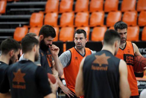 La plantilla del Valencia Basket, en el último entrenamiento.