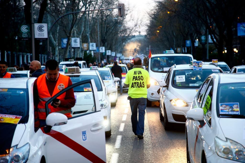 Manifestación de taxistas en Madrid el 2 de febrero pasado.