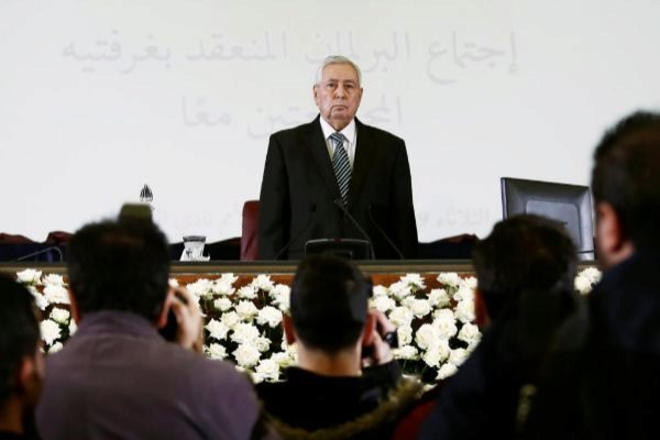 Algerian upper house chairman Abdelkader <HIT>Bensalah</HIT> is pictured after being appointed as interim president by Algeria's parliament in Algiers