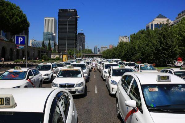 Concentración de taxistas el pasado 30 de julio en Madrid.
