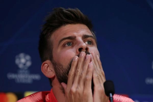 Soccer Football - Champions League - FC Barcelona Press Conference - Old Trafford, Manchester, Britain - April 9, 2019 Barcelona's Gerard <HIT>Pique</HIT> during the press conference Action Images via Reuters/Lee Smith