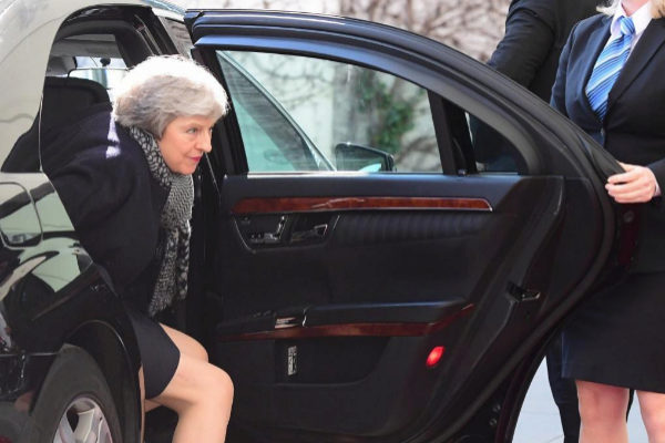La primera ministra británica, Theresa May, en Berlín.