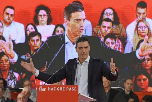 Pedro Sánchez, en un acto del PSOE en León