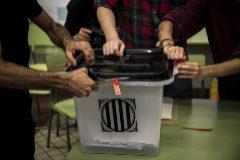 Una de las urnas usadas durante el referéndum del 1-O