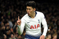 LONDON, ENGLAND - APRIL 09: Heung-Min Son of <HIT>Tottenham</HIT> Hotspur celebrates after scoring his team's first goal during the UEFA Champions League Quarter Final first leg match between <HIT>Tottenham</HIT> Hotspur and Manchester City at <HIT>Tottenham</HIT> Hotspur Stadium on April 09, 2019 in London, England. (Photo by Mike Hewitt/Getty Images)