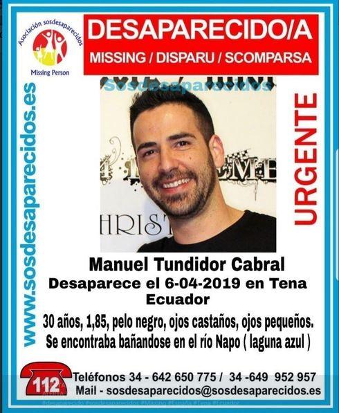 Imagen difundida en redes sociales del joven español desaparecido.