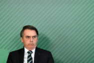 El presidente brasileño, Jair Bolsonaro, en el Palacio de Planalto en Brasilia.