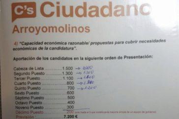 Documento de Cs en Arroyomolinos con las cantidades a abonar. E. M.