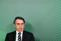 El presidente brasileño, Jair <HIT>Bolsonaro</HIT>, en el Palacio de Planalto en Brasilia.