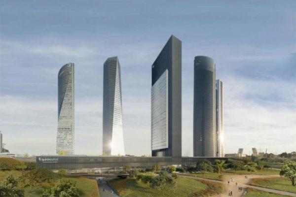 Recreación del distrito financiero de Madrid, al norte de la ciudad.