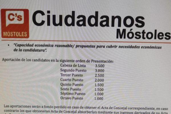 Documento de la agrupación de Cs en Móstoles con las cantidades a abonar.