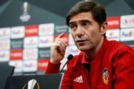 Marcelino García Toral, durante la rueda de prensa previa a la semifinal de Europa League.