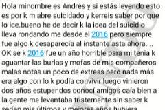 Primer extracto de la carta de suicidio de Andrés.