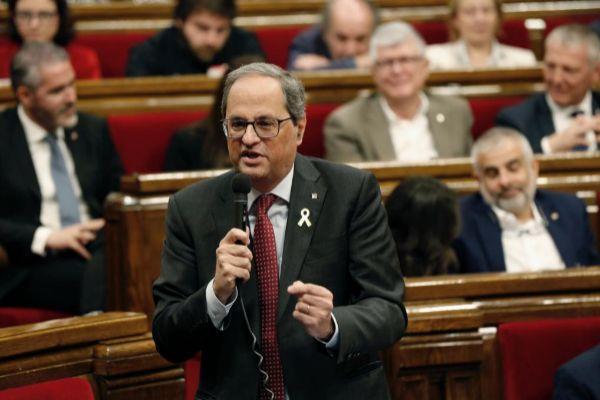 Jordi Soteras Catalunya Barcelona 10/04/2019 Sesion plenaria en el Parlamento de Catalunya en la foto Quim <HIT>Torra</HIT> Foto Jordi Soteras