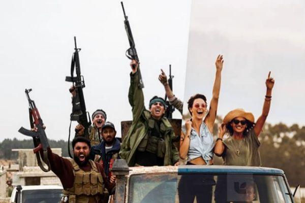 A la izquierda una imagen de unos guerrilleros sirios, a la derecha una imagen de una chicas yendo a un festival.