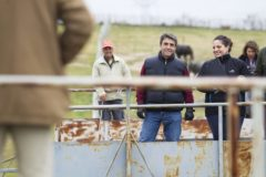 Victorino Martín y su hija Pilar, haciendo faenas de campo en su finca de Las Tiesas