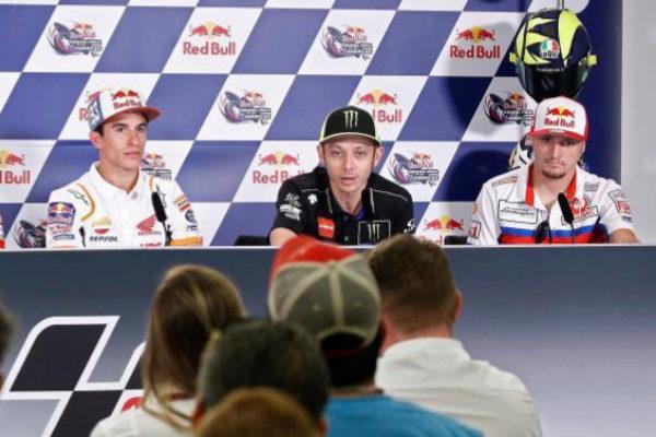 Márquez, Rossi y Miller, en Austin.