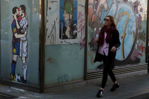 Grafitis en el centro de Barcelona