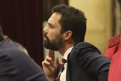 Antonio Moreno 03.04.2019 Barcelona Cataluña. El presidente Roger <HIT>Torrent</HIT> en el pleno del Parlament.