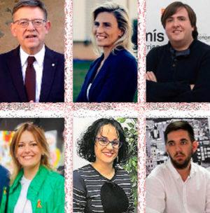 Ximo Puig (PSOE), Susana Fabregat (PP), Vicent Granel (Compromís), Yolanda Tena (Vox), Patricia Mir (Ciudadanos) y Fernando Navarro (Podemos).