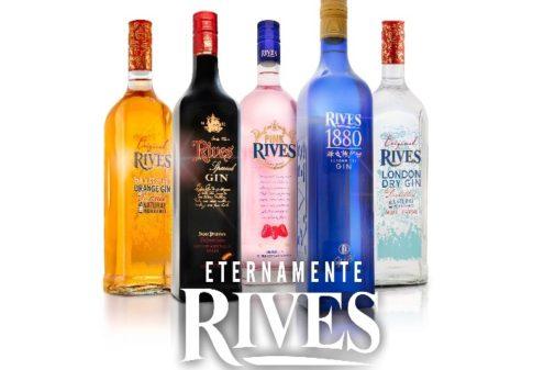 Familia de botellas de la marca de ginebra de alta calidad Gin Rives.