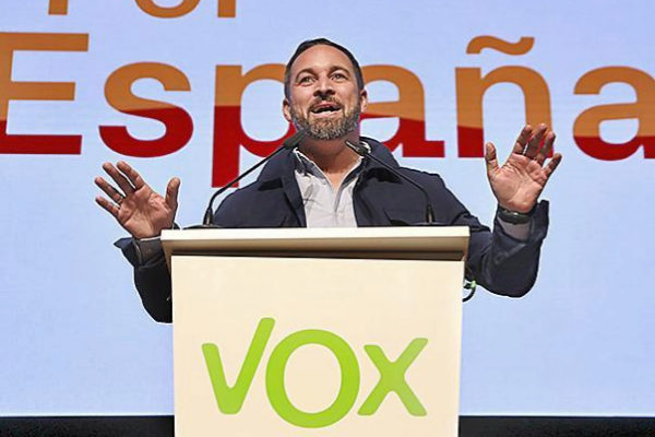El líder de Vox, Santiago Abascal, en un mitin en Toledo.