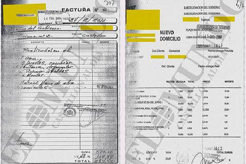 Facturas supuestamente falsas que Vicente G.M, vincula a su compañero Jaime A.M.