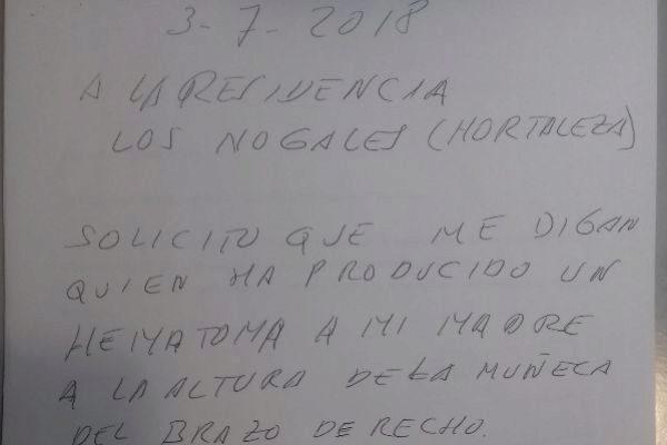 Imagen del último escrito de Francisco a la dirección de Los Nogales.