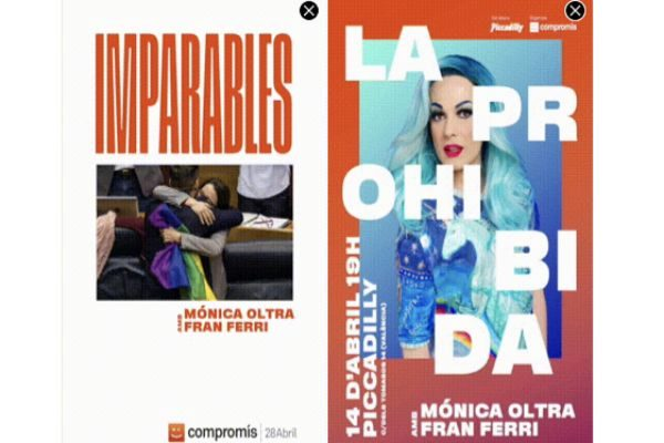 Dos capturas de la propaganda electoral de Compromís en la 'app' Grindr.