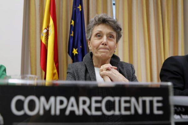 La administradora provisional única de RTVE, Rosa María Mateo, en el Congreso.