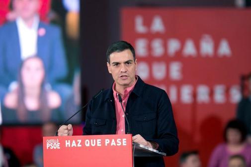 Pedro Sánchez, durante su acto de campaña en Castellón