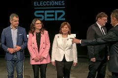Martínez Dalmau, Toni Cantó, Mónica Oltra, Isabel Bonig y Ximo Puig, ayer, en el plató del primer.