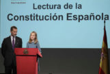 Leonor, durante la lectura de un artículo de la Constitución, en octubre.