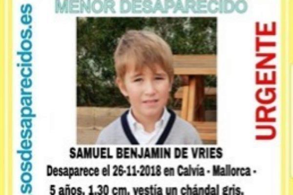 Cartel de la desaparición de Samuel Benjamin de Vries.
