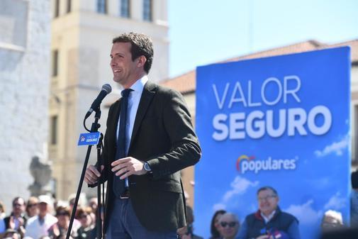 Pablo Casado, en un acto de campaña del PP en Valladolid
