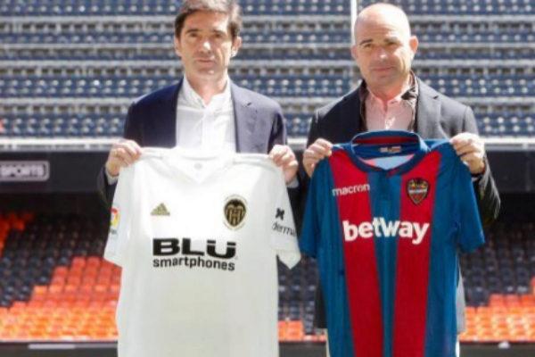 Marcelino García Toral y Paco López, este sábado en Mestalla.