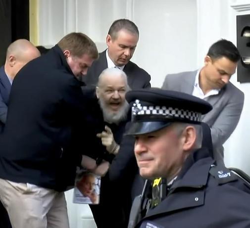 Julian Assange, detenido en la embajada de Ecuador.