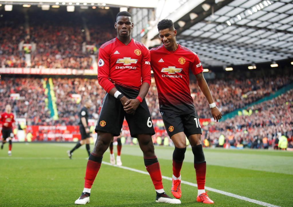 Pogba celebra su segundo gol ante el West Ham