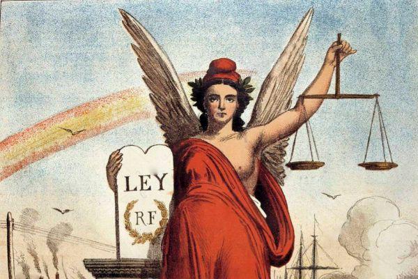 Alegoría sobre la I República Española, publicada en La Flaca, revista humorística y liberal del siglo XIX.