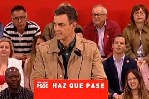 Pedro Sánchez, durante su acto de campaña en Gran Canaria