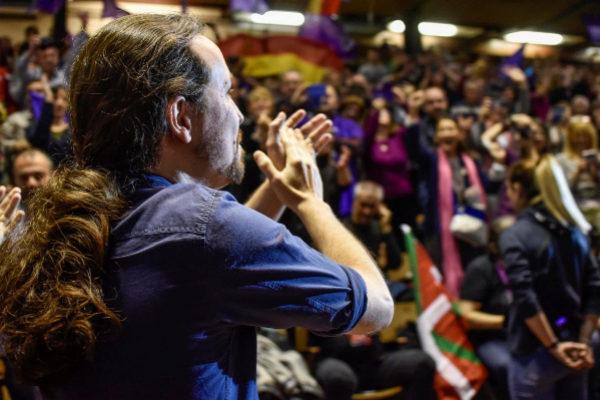 Pablo Iglesias durante el mitin en Eibar.