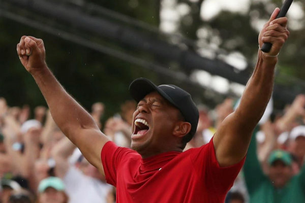 Tiger <HIT>woods</HIT> celebrates after winning the 2019 Masters