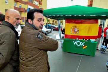 Un puesto de Vox en la ciudad de Ceuta