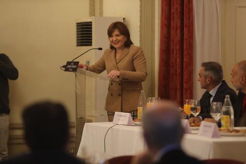 Isabel Bonig, este lunes, en un desayuno en Castellón.